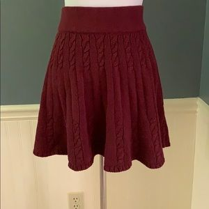Hollister Wine Cable Knit Sweater Skater Skirt Med